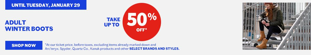 select winter adult boots up to 50%