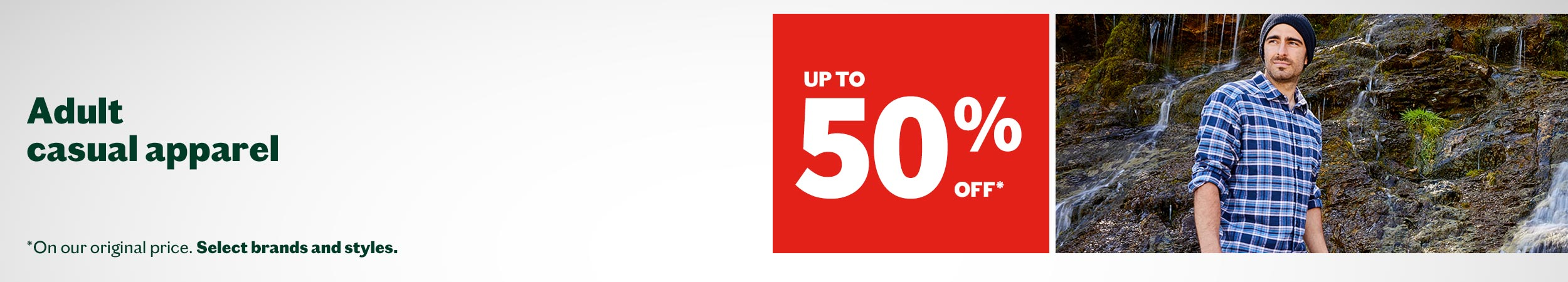 Take up to 50% off adult casual wear