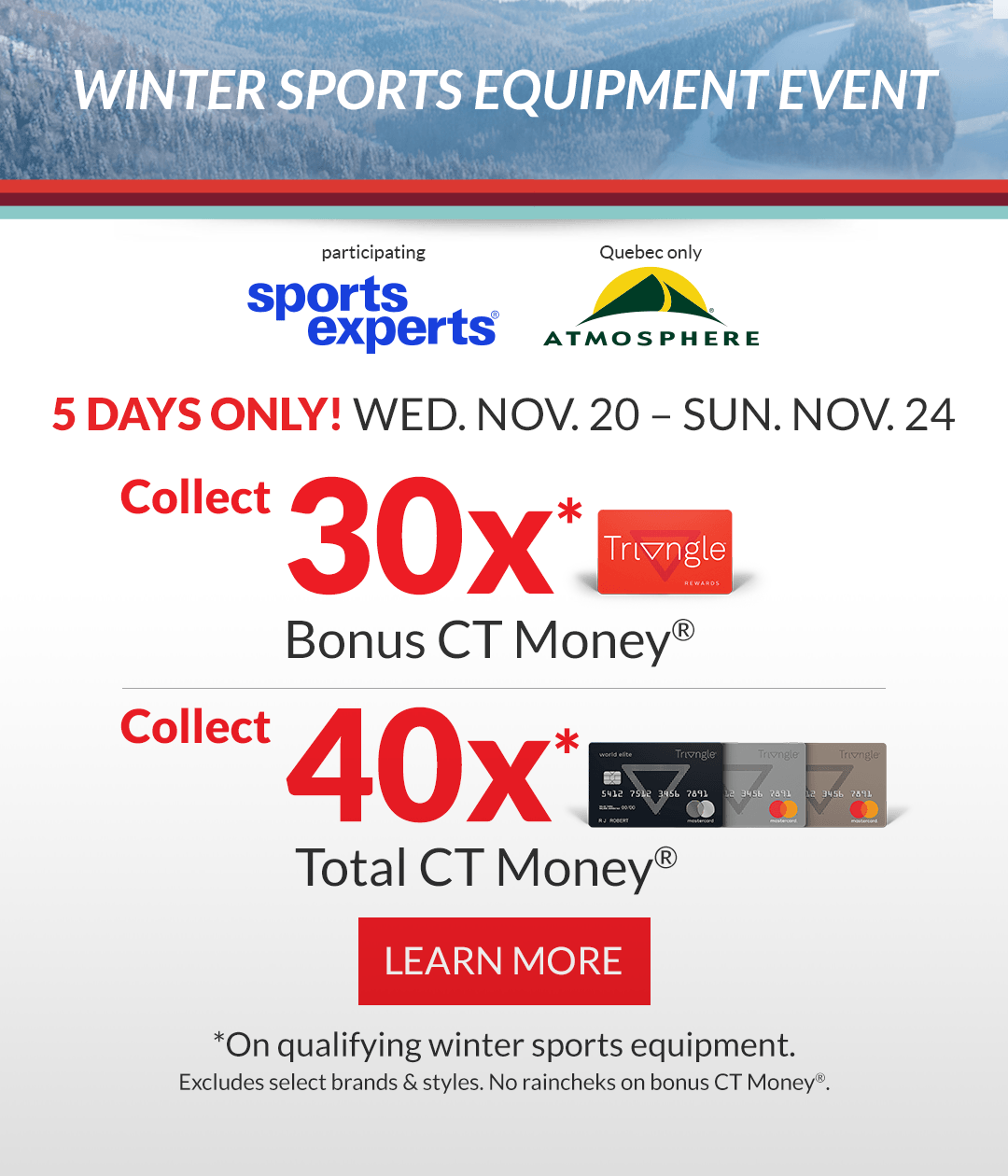 Bonus Day WINTER SPORTS EQUIPMENT EVENT FOR 5 DAYS ONLY