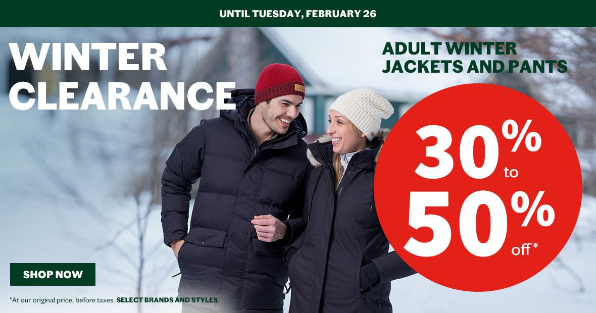 winter clearance adult winter jackets and pants 30-50%