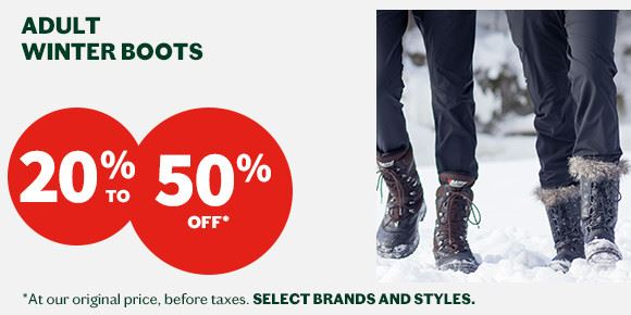 20 to 50% off adult winter boots