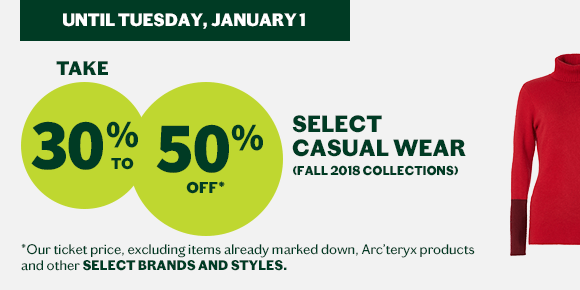 casual apparel holiday sales