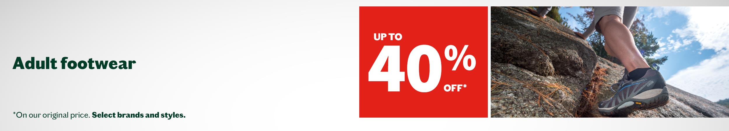 Up to 40% off adult footwear