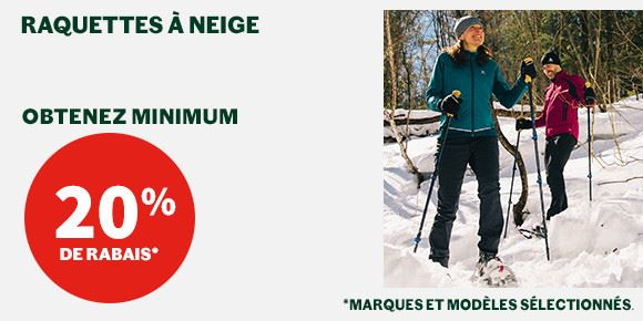 Snowshoes minimum 20%