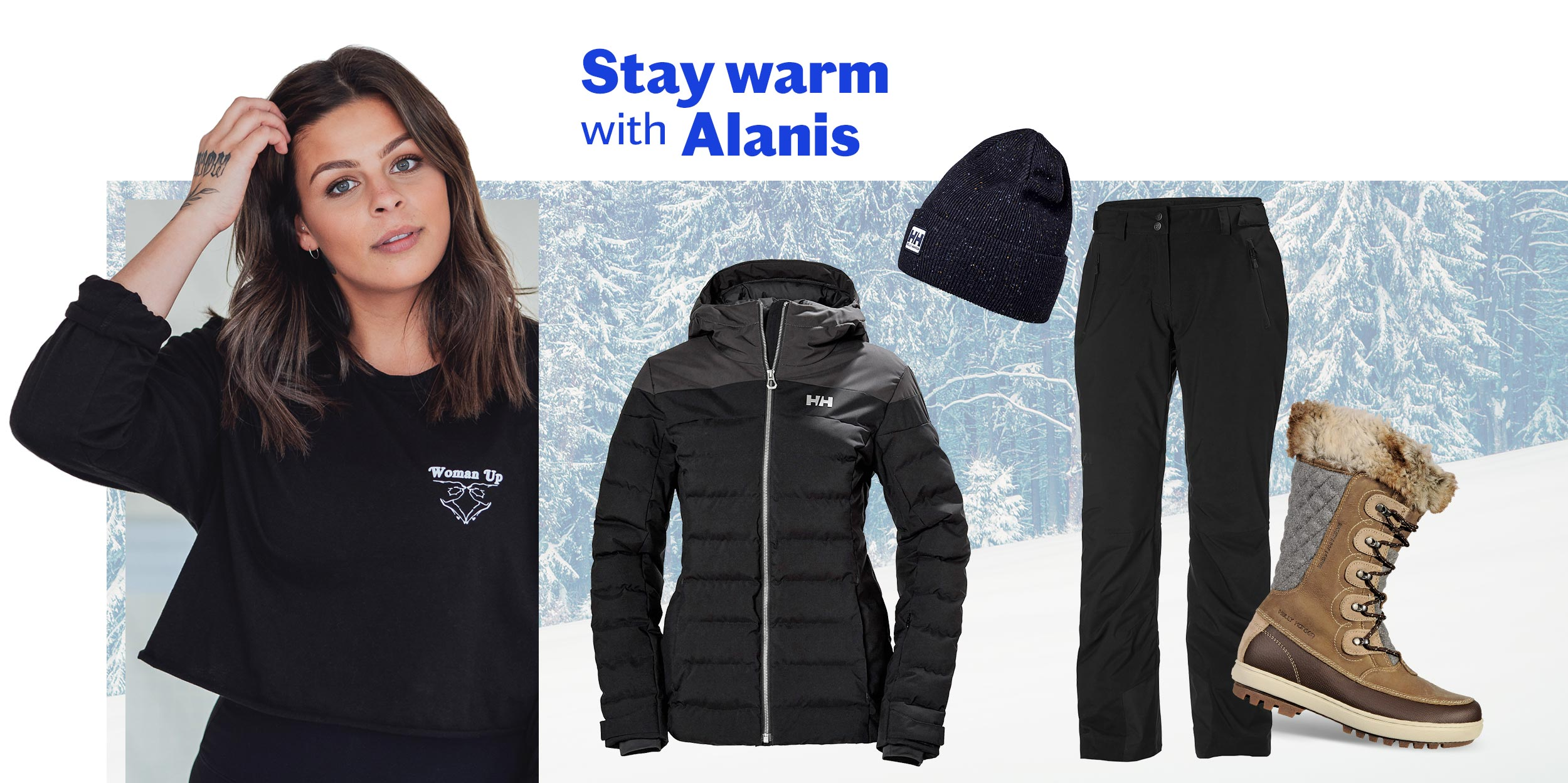 Stay warm with Alanis - Sports Experts influencer